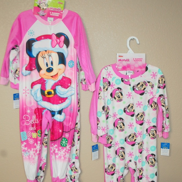 e8f5ddbb59 NWT Disney Set of 2 Blanket Sleepers Minnie Mouse